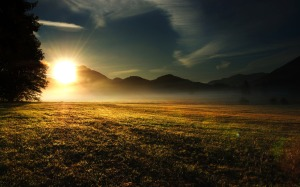 grass-field-mountains-hills-trees-sun-rays-light-morning-sky-1361874